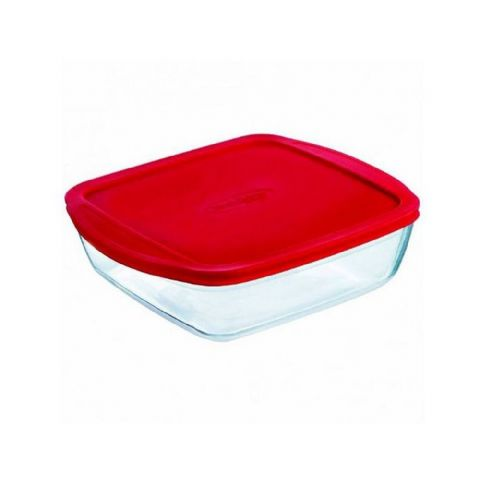 Pyrex OCuisine Medium Square 1L 20cm Glass Food Box Container Dish with Lid